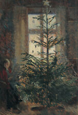 """oil painting handpainted on canvas """"a woman sitting by the Christmas tree""""@N5768"""