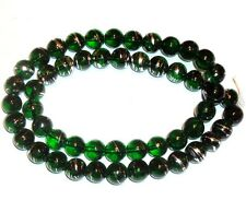 G675f Green 8mm Round Silver Metallic Swirl Drawbench Glass Beads 16""