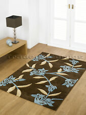 EXTRA LARGE THICK CHOCOLATE BROWN TEAL BLUE RUG 200x290