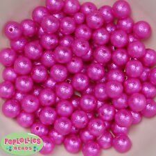 12mm Hot Pink Acrylic Crinkle Pearl Bubblegum Beads Lot 40 pc.chunky gumball