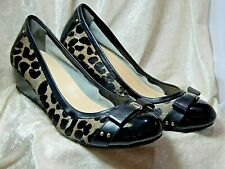 Cole Haan Wedge Pumps Hair calf Black size 8 med. shoes