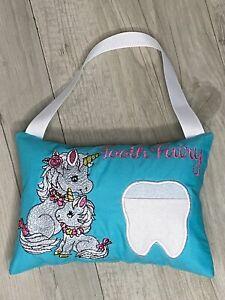 Tooth Fairy Pillow Birthday Gift Keepsake Tooth Pocket Cushion Pocket Unicorn