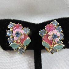 Pink Blue Rhinestone Enamel Flower Earrings Clip on Prong Set High End Vintage