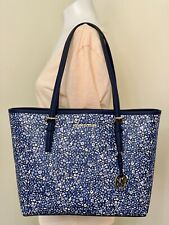 Michael Kors Jet Set Travel Floral Medium Carryall Tote in Navy