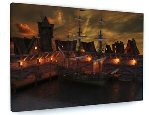 PIRATE SHIP CANVAS PICTURE PRINT WALL ART 6615