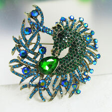 Vintage Green Blue Horse Wedding Brooch Bridal Rhinestone Crystal Pin Brooch DIY