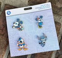 2021 Disney Parks Robot Booster Pin Set Of 4 Mickey Minnie Donald Stitch