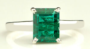 14KT White Gold With 1.70Ct Octagon Shape Natural Zambian Emerald Solitaire Ring