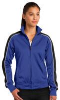 Sport-Tek Women's Polyester Tricot Rib Knit Cuff Long Sleeve Track Jacket. LST92