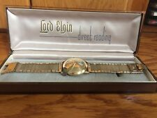 Vintage Lord Elgin 23 Jewels Direct Read Jump Hour Chevron Watch.