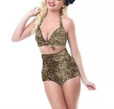 Women's Leopard Print Pin Up 50's Style Plus Sized High Waisted Bikini 4X NWT