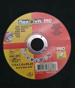 Flexovit Pro Steel Inox Cutting Off Disc 115mm x 1mm x 22.23mm angle grinder