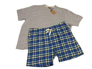 Mens Tee & Shorts Pyjama Set Grey Top & Blue Check Comfy Stocking  Christmas