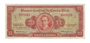COSTA RICA 20 Colones 1960, P-222c Banco Central W&S Printer, Scarcer Type, VF