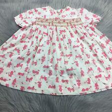 Vintage Handmade Toddler Girls Pink White Novelty Print Dog Smocked Dress