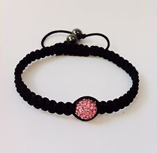 "Shamballa Bracelet 10mm Pink Swarovski Crystal Bead & Hematite "" ADJUSTABLE"""
