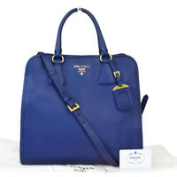 Authentic PRADA MILANO 2Way Shoulder Hand Bag Leather Blue Made In Italy 82MB594