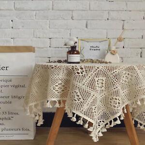 Vintage Hand Crochet Doily Square Lace Table Cloth Cover Mat Cotton Doilies 60cm