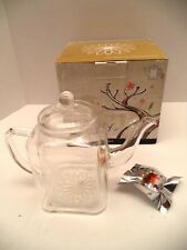 """Teaposy Socrates square clear glass teapot 2007 new in box gold filter 6"""" tall"""