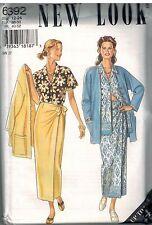 6392 UNCUT New Look Sewing Pattern Misses Career Jacket Top Shirt Wrap Skirt OOP