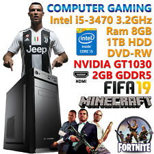 PC COMPUTER DA GIOCO GAMING QUAD CORE i5-3470 RAM 8GB HDD 1TB NVIDIA GT1030 2GB
