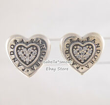 SIGNATURE HEART Authentic PANDORA Silver Stud LOGO Earrings 297382CZ NEW w POUCH