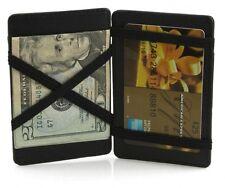 BLACK GENUINE LEATHER MEN MAGIC CREDIT CARD WALLET Ticket Thin Safe Holder NICE