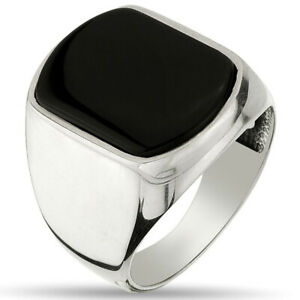 Solid 925 Sterling Silver Men's Ring with Black Onyx Stone