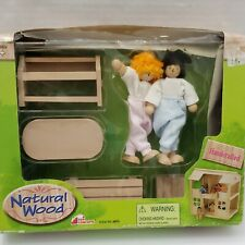 New Natural Wood Boy Girl Figure Furniture Outdoor Barbecue Table Dollhouse Toy