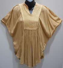 Top Fit 1X 2X 3X Plus Tunic Caftan Tan Batwing Embroidery Poncho Style NWT DC383