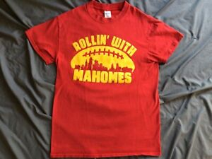 Kansas City Chiefs Rollin' With Mahomes Youth Boy's Red Graphic T-Shirt Large