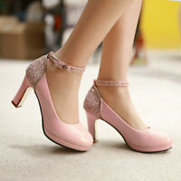Womens Ankle Strap Sequins High Heels Round Toe Mary Jane Shoes Casual OL Party