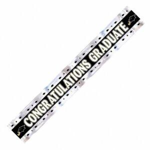 Shiny Foil Black & Silver Graduation Party Banner Decoration CONGRATS GRADUATE