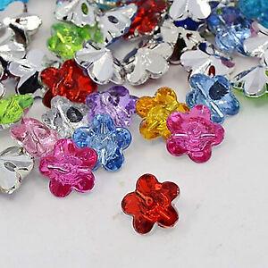 10 Stück Kristall Acryl Blumen Knöpfe 12mm x 12mm zwei Löcher Knopf Blume