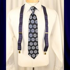 UNBRANDED   Navy Blue with Red Geometric Man Suspenders