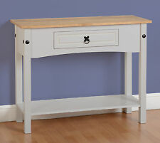 Seconique CORONA Grey & Distressed Waxed Pine 1 Drawer Console Table With Shelf