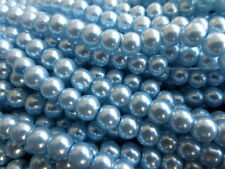 1 Strand (140 Perline) x 6 mm AZZURRO VETRO PERLE FAUX Imitazione Perle