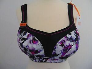 Panache Sport High Impact Black + Painted Print Bra UK 36D New with Tags