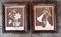 Art Deco ? Flower Floral Prints Pictures Chain Plastic Frames Nu Dell Goes 50's?