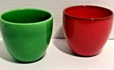 Salerno Italy Ceramica D'Arte Bowls Hand Painted Small x2 Green and Red