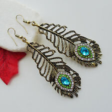 Feder Pfau blau grün gold crystal Ohrringe Ohrhänger Modeschmuck Glamour neu