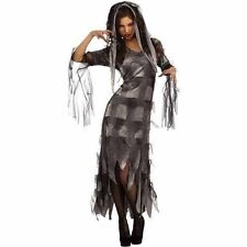 Graveyard Zombie Ghost Witch Adult Woman's Halloween Costume Dress L (12-14) NEW