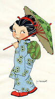 1930s French Pochoir Colored Print M. Vanasek Little Geisha Girl Blue Kimono