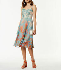new KAREN MILLEN palm print DRESS fitted bodice pleat skirt UK16 US12 eu42 bnwt