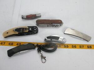 Lot of 6 Folding Knives Multi-Tool Single Blade Wood Handle Rubber Grips Knife T