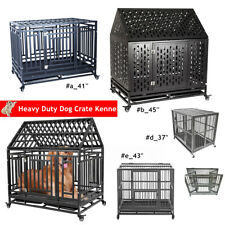 Heavy Duty Dog Cage Pet Crate Kennel Strong Metal Frame with Locking Caster