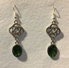 ROUND CELTIC KNOT DARK SILVER PLATED EARRINGS FACETED green GLASS CRYSTAL OVAL