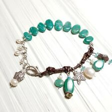 AMAZONITE, PEARL, KAREN HILL TRIBE CHARMS, STERLING SILVER BRACELET - COOL!