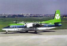 "Aer Lingus Fokker F-50 EI-FKD ""St Mel"" at Birmingham Airport Late 80's Postcard"