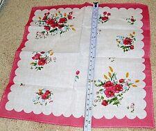 "Vintage cotton blend pink white floral ladies handkerchief 11"" x 11"" New"